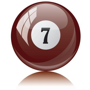 Vector illustration of a isolated glossy - seven, brown - pool ball against white background.