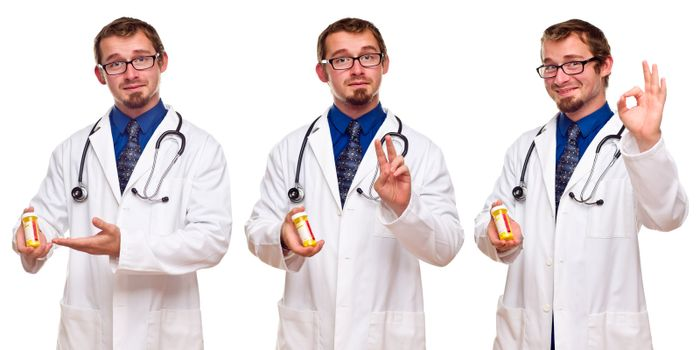 Triple Set of the Same Male Doctor with Prescription Bottle Isolated on a White Background.