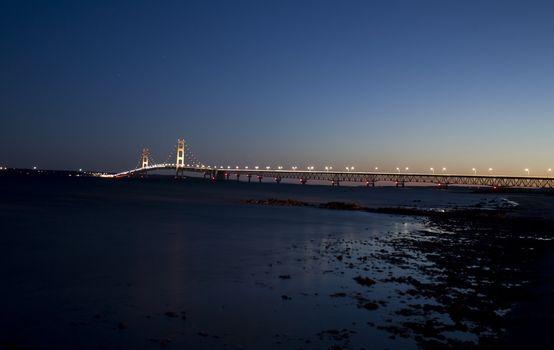 Mackinaw City Bridge Michigan Night shot photograph