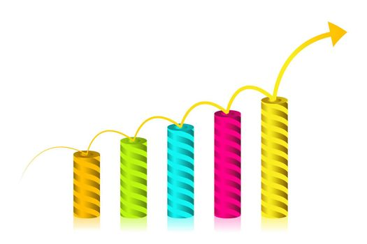 illustration of growth graph on white background