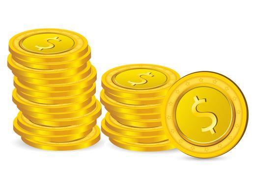 illustration of dollar coins on white background