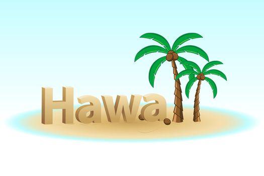 illustration of hawaii on white background