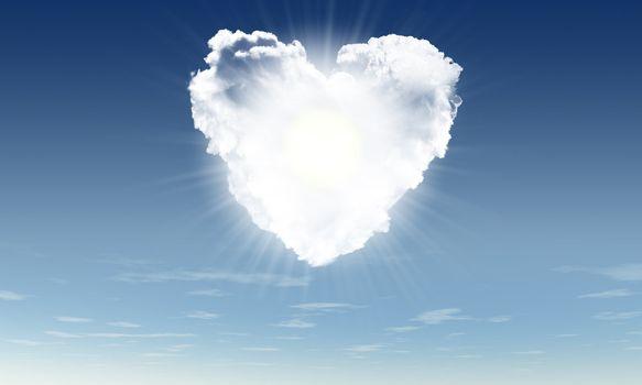 Heart from clouds witn sunbeam