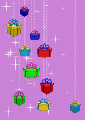 Boxes with gifts on a colour background with stars. Celebratory picture