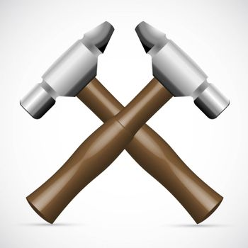 illustration of tools in crossed formation on white background