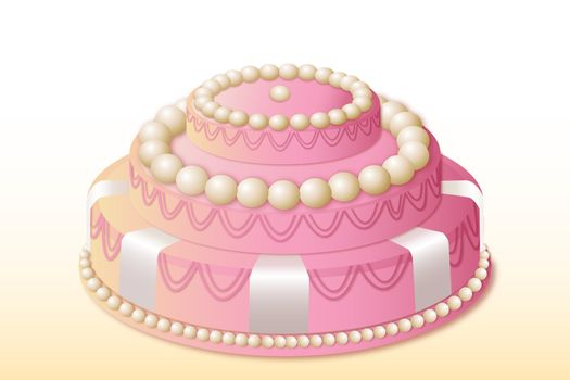 illustration of birthday cake on white background