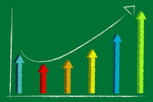 illustration of graph with arrow on abstract background