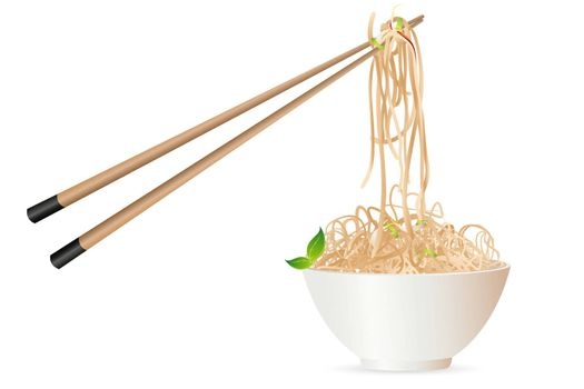 illustration of noodles with chopstick on white background