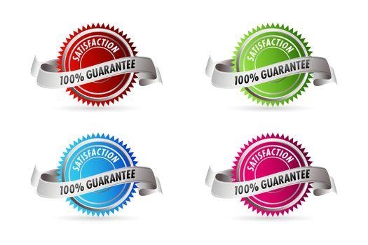 illustration of 100% guarantee satisfaction on white background