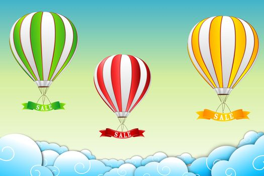 illustration of parachute with sale tag on abstract background