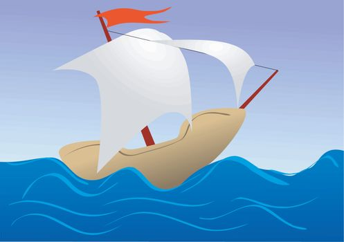 Illustration of sea ship in child's drawing style