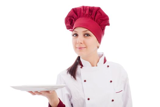 Chef presenting her dish