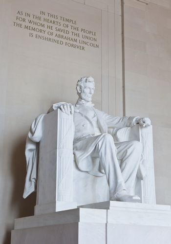 Abraham Lincoln statue in the Lincoln Memorial in Washington DC
