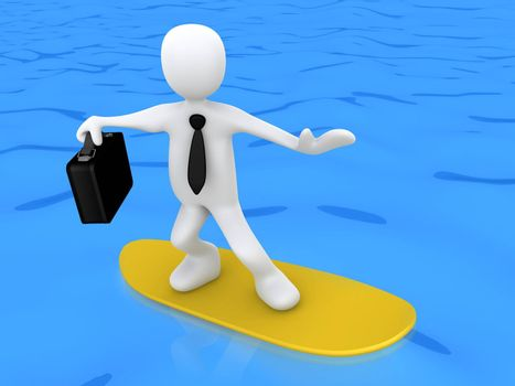 3d businessman on a surf board .