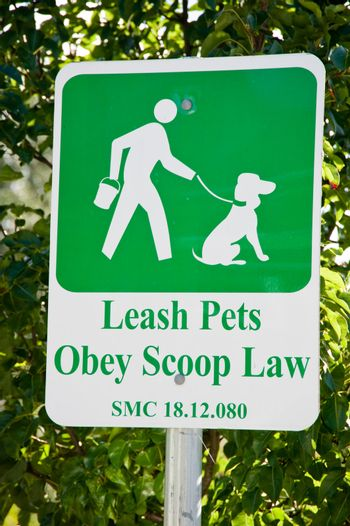Leash pets, Obey scoop law sign