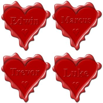 Valentine love hearts with names: Edwin, Marcus, Trevor, Luke