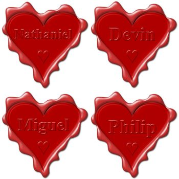 Valentine love hearts with names: Nathaniel, Devin, Miguel, Philip
