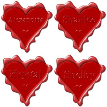 Valentine love hearts with names: Alexandria, Shanice, Krystal, Shelby