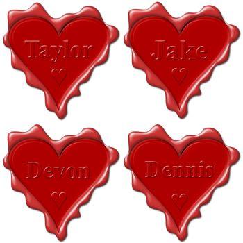 Valentine love hearts with names: Taylor, Jake, Devon, Dennis