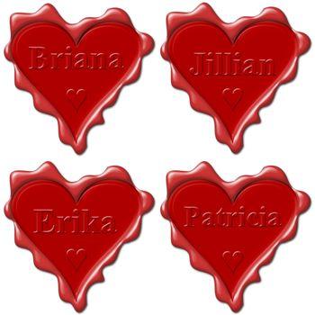 Valentine love hearts with names: Briana, Jillian, Erika, Patricia