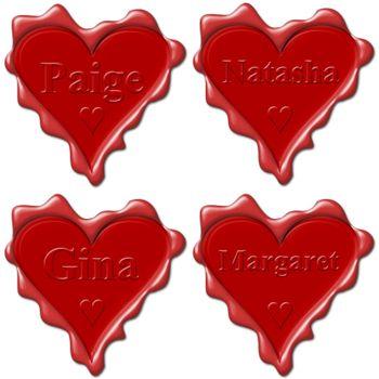 Valentine love hearts with names: Paige, Natasha, Gina, Margaret