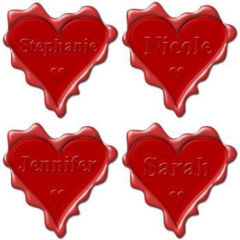 Valentine love hearts with names: Stephanie, Nicole, Jennifer, Sarah