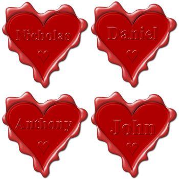 Valentine love hearts with names: Nicholas, Daniel, Anthony, John