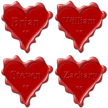 Valentine love hearts with names: Brian, William, Steven, Zachary
