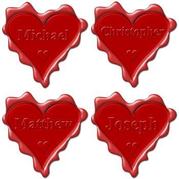 Valentine love hearts with names: Michael, Christopher, Matthew, Joseph