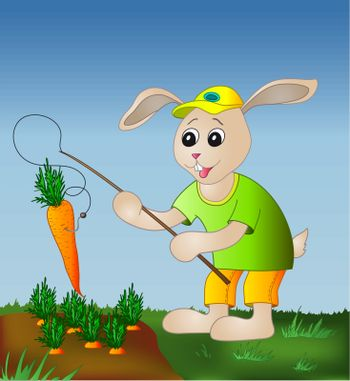 Rabbit with a fishing tackle catches a carrot from a bed