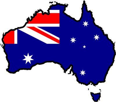 Illustration of flag in map of Australia