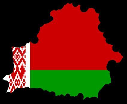 Illustration of flag in map of Belarus