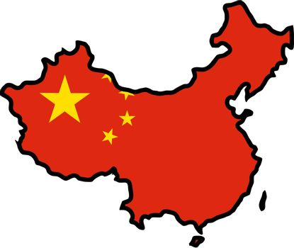 Illustration of flag in map of China