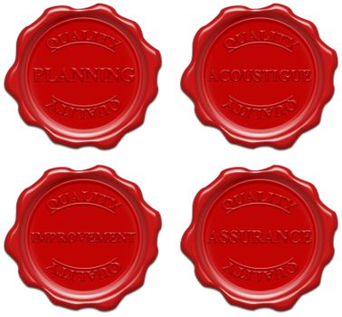 High resolution realistic red wax seal with text : quality, planning, acoustigue, improvement, assurance