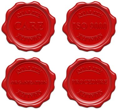 High resolution realistic red wax seal with text : quality, care, iso 9000, organization, procedure