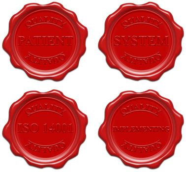 High resolution realistic red wax seal with text : quality, patient, system, iso 14001, implementing