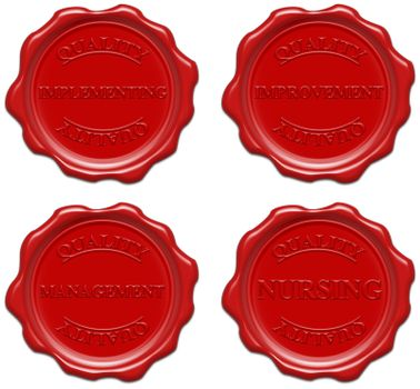 High resolution realistic red wax seal with text : quality, implementing, improvement, management, nursing