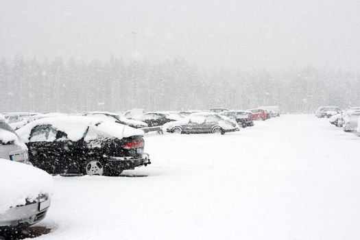 Cars parking in a heavy snow fall