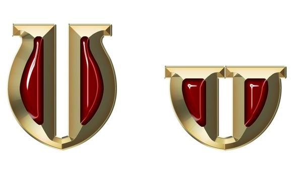 Font from brushed gold with ruby on white background