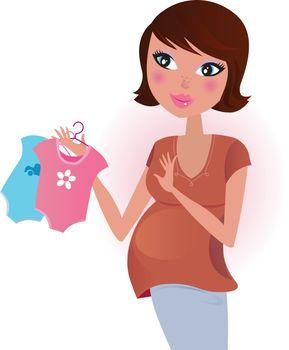 Pregnant woman awaiting baby boy or girl