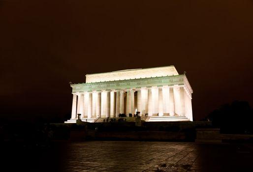 The Lincoln memorial in Washington DC USA at night