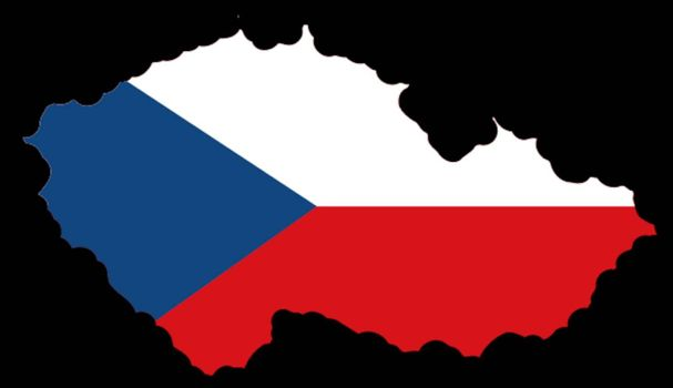 Illustration of flag in map of Czech Republic