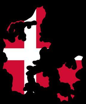 Illustration of flag in map of Denmark