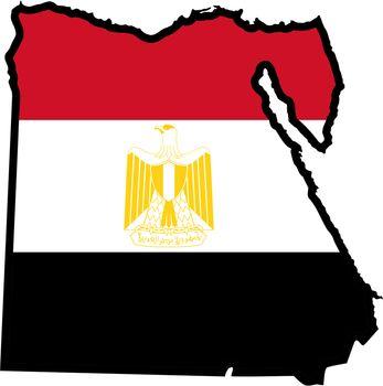 Illustration of flag in map of Egypt