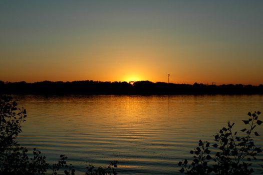 Sunset on the river Volga