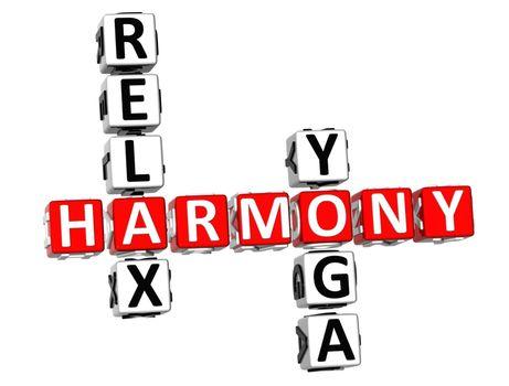 3d Harmony Relax Yoga Crossword on white background