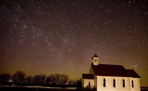 Star Trails Night Shot Church Canada