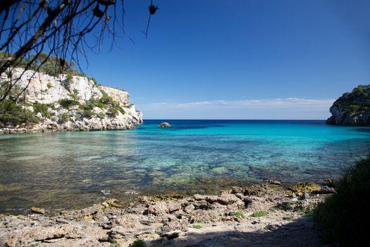 Mediterranean sea between cliffs