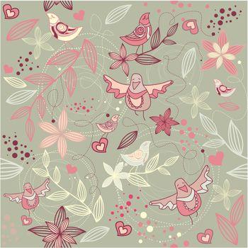 seamless floral romantic wallpaper