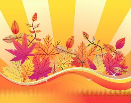 Autumn leaves on a yellow background. Vector available